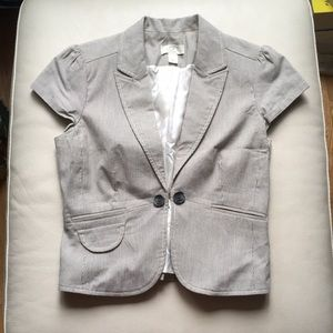 Ann Taylor Loft Pinstriped Cap Sleeve Blazer